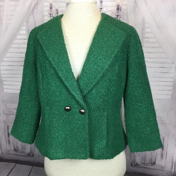 CAbi Jackets & Blazers - CAbi  Boucle Blazer Green Jacket 8